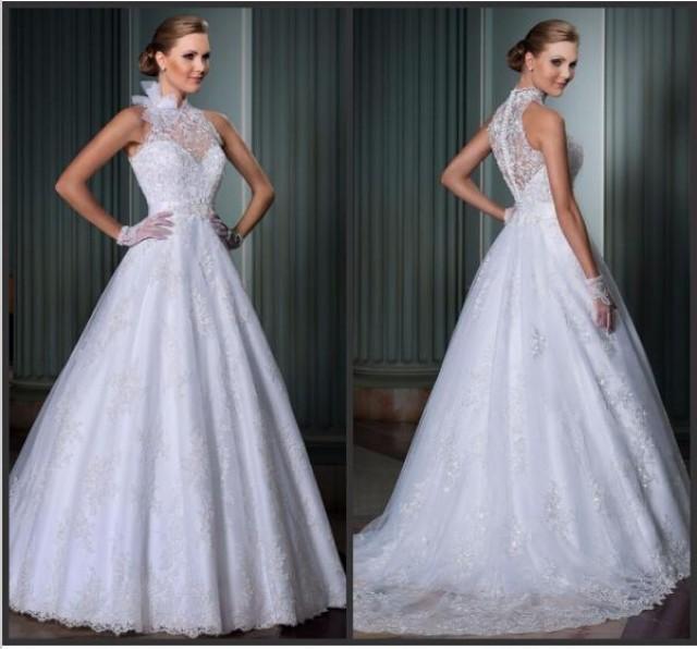 Vintage 2015 lace wedding dresses high neck applique for Vintage wedding dresses online shop