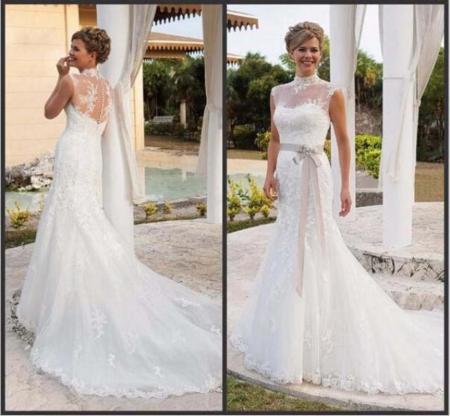Elegant 2015 Wedding Dresses With Sash High Neck Applique Lace Cheap Bridal Dress Sheer Chapel