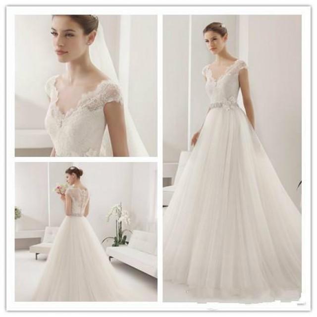 Elegant simple lace applique wedding dresses v neck tulle for Simple designer wedding dresses