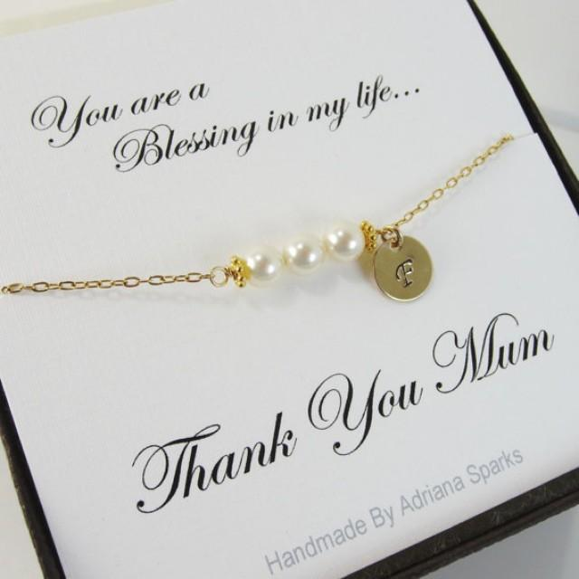 Wedding Thank You Gift For Mom : Bracelet With Thank You Card, Mothers Gifts, Gifts For Mother ...