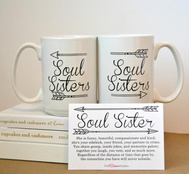 Wedding Gifts For Friends Sister : TWO SOUL SISTERS Mugs, Coffee Mug SetBest Friends, Sisters- Gifts ...