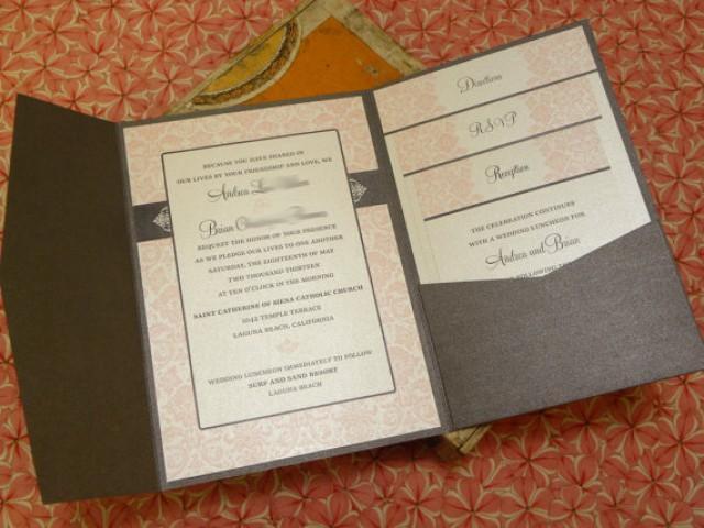 Wedding Invitation Pocket Folders: Pink Damask Wedding Invitations