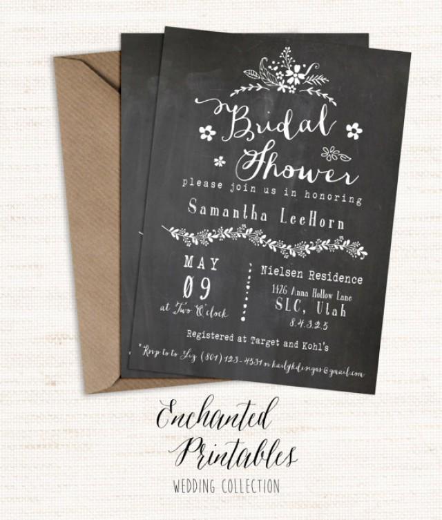 Chalkboard bridal shower invitation printable bridal for Classic bridal shower invitations