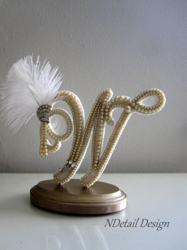 Wedding Cake Topper Monogram Letter W Vintage Ivory Pearls ...