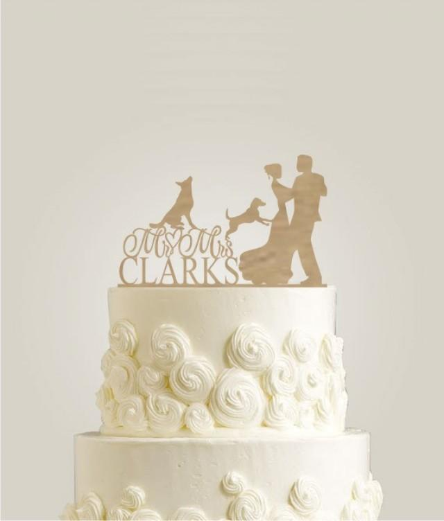 rustic cake topper with two dogs mr and mrs cake topper