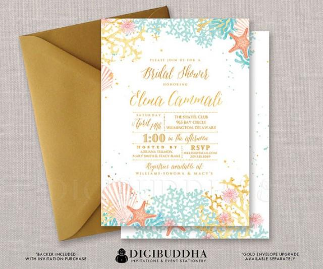 beach bridal shower invitation watercolor ocean coral gold foil, Bridal shower invitations