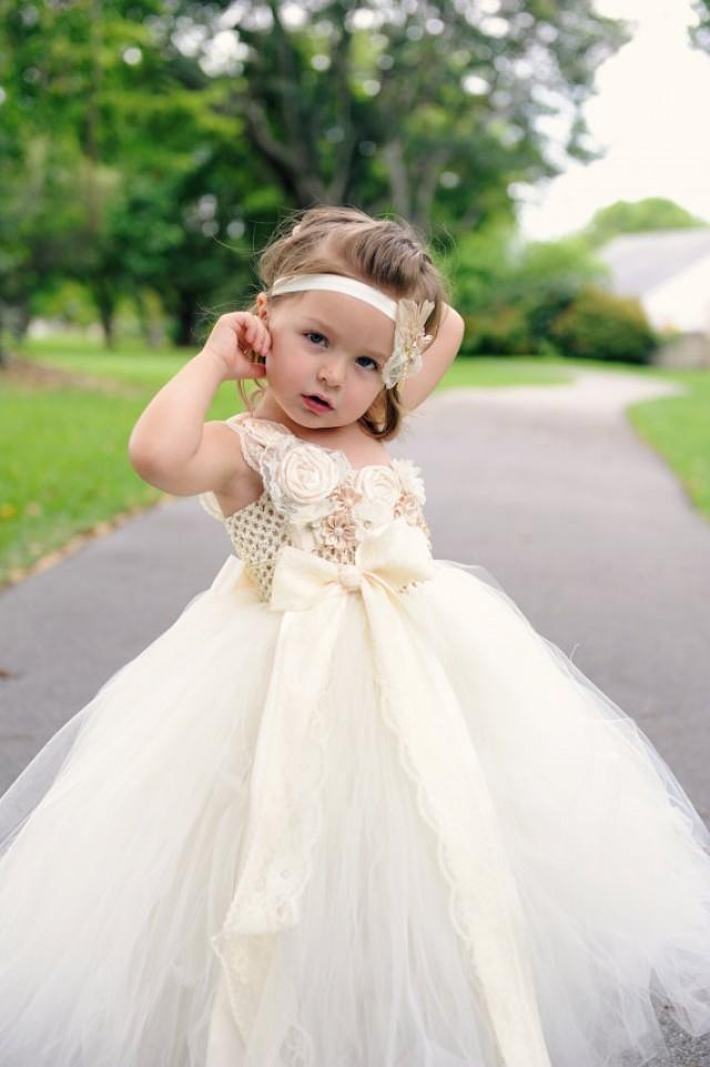 Flower girl dress ivory flower girl dress one shoulder for Country wedding flower girl dresses