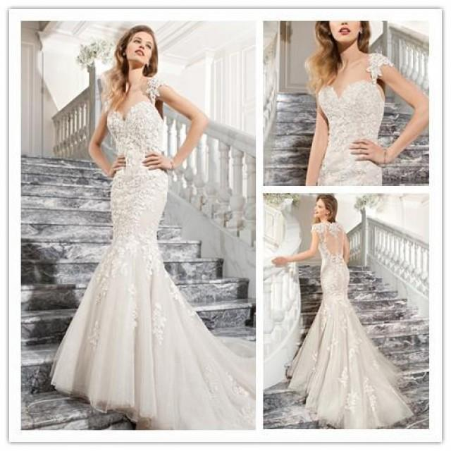 Amzing 2015 wedding dresses applique lace illusion back for Wedding dress with applique