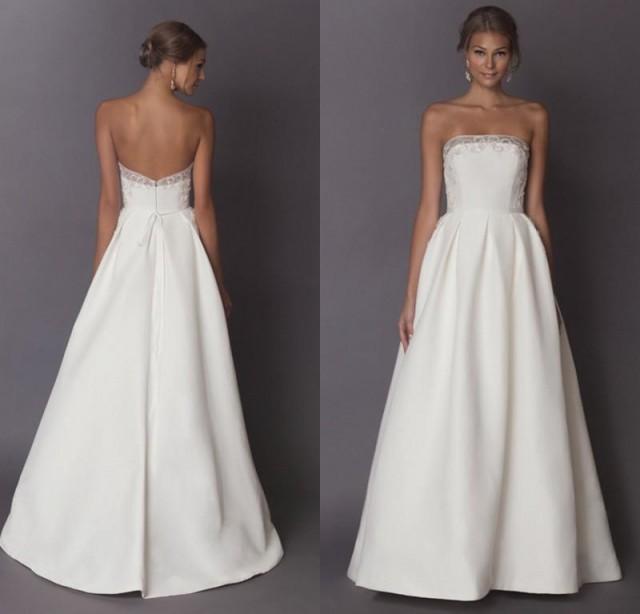 Cheap Bohemian Beach Wedding Dresses 2015 Strapless A Line Beads Sleeveless Draped Personalized