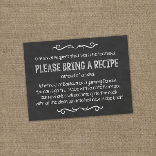 Please Bring A Recipe Instead Of A Card Insert For Bridal Shower Invitations Cookbook Gift