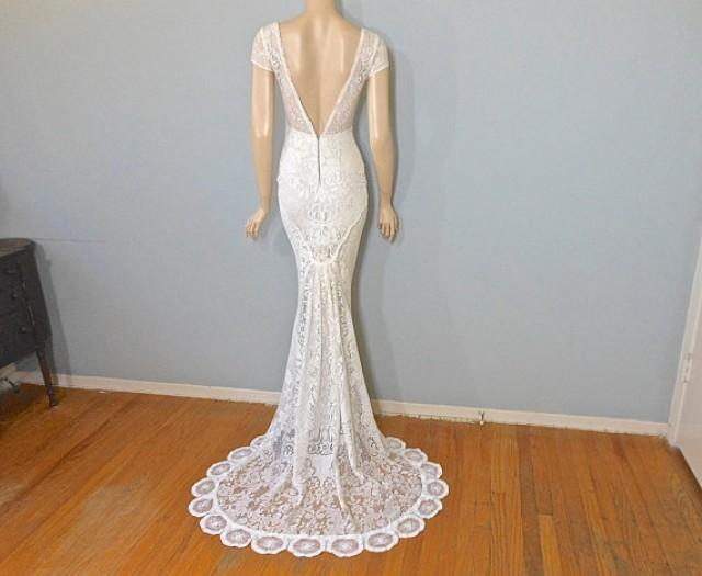 Crochet lace wedding dress romantic boho wedding dress for Simple wedding dresses for small wedding