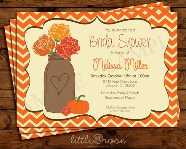 Fall Wedding Shower Invitations: Fall Pumpkin Mason Jar Bridal Shower Invitation