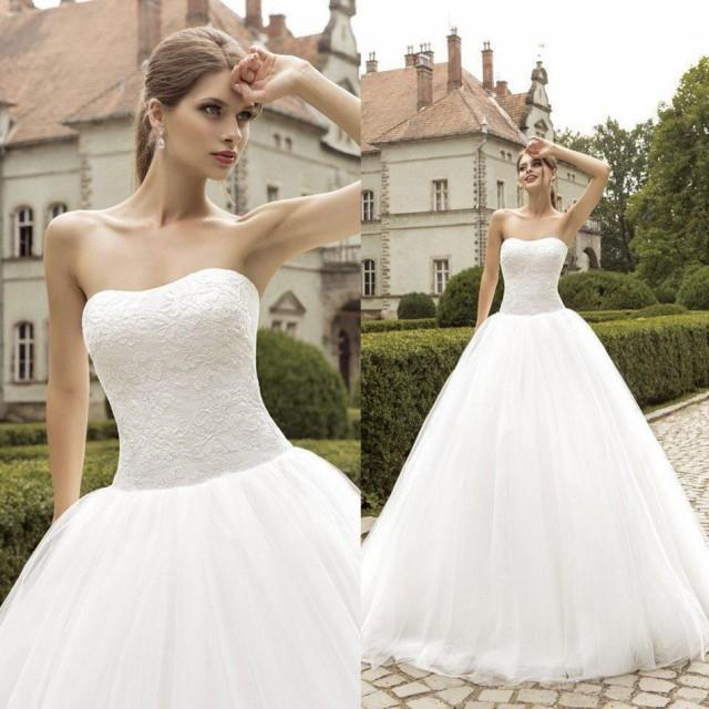 Strapless wedding dresses plus size 2015 cheap lace for Strapless wedding dresses with long trains