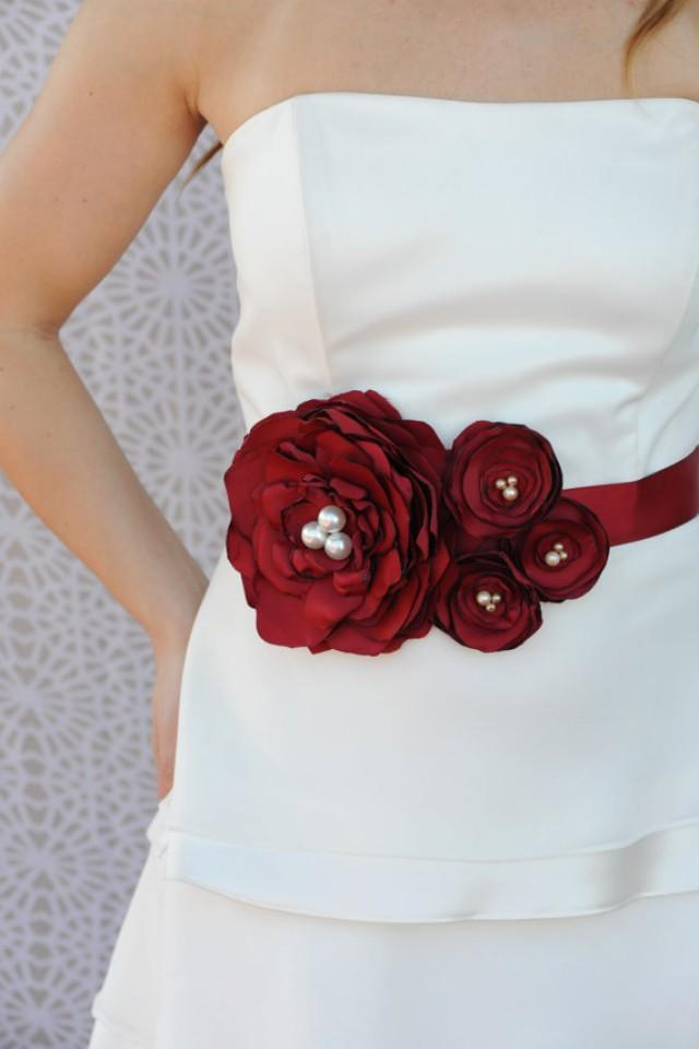 Bridal sash wedding dress sash bridal belt bordeaux for Wedding dress belt sash