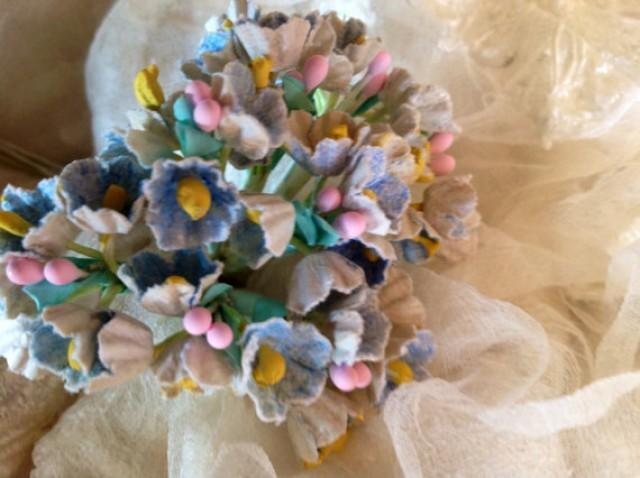 1 Bouquet Vintage Millinery Flowers Forget Me Nots Pastel Blue With Pink Composition Buds For