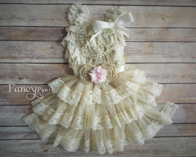 Lace rustic flower girl dress beige tan lace dresses for Country wedding flower girl dresses