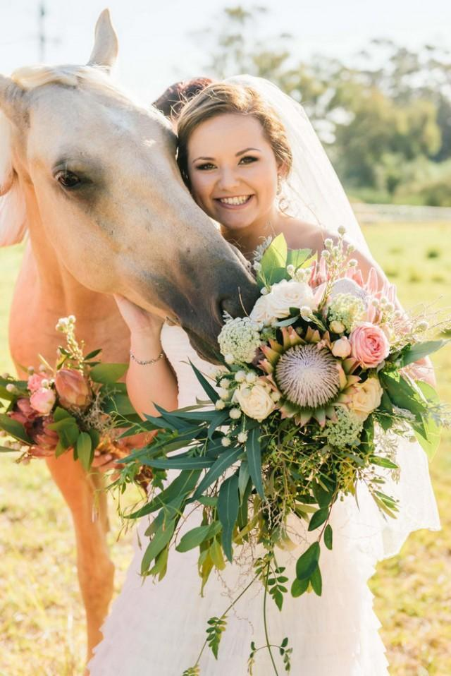 Cascading Protea Wedding Bouquet Recipe Weddbook