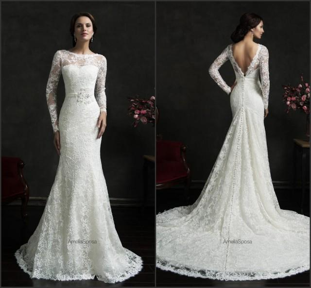 2015 Amelia Sposa Wedding Dresses Sash Lace Illusion Bodice Applique Spring Mermaid Bridal Gowns