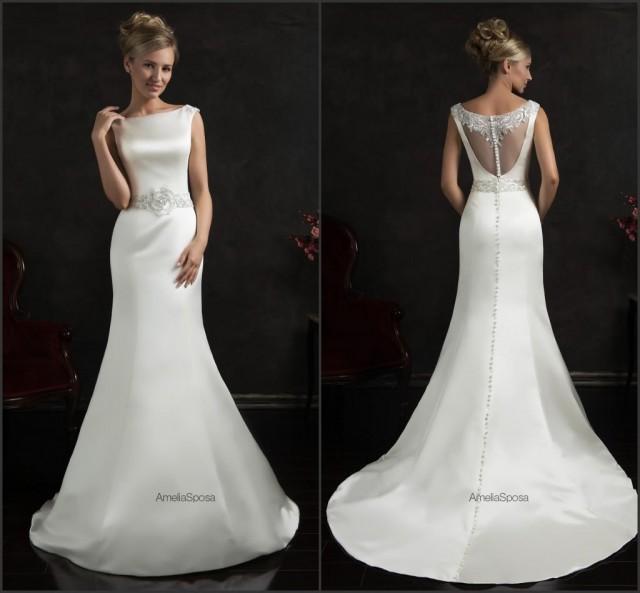 Bright 2015 spring mermaid wedding dresses white satin for Beaded wedding dress designers