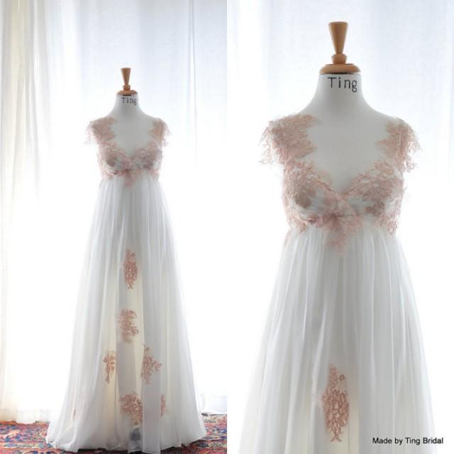 Vintage Wedding Dresses Pink : April pink white vintage lace fairy wedding dress custom empire waist