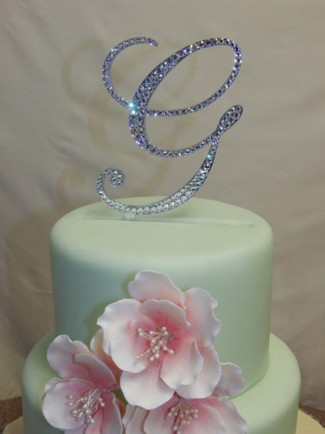 5 Tall Initial Monogram Wedding Cake Topper Swarovski Crystal Rhinestone Letter A B C D E F G H