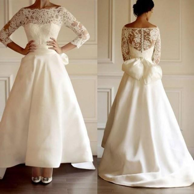 Simple Ankle Length Lace Wedding Dresses White Three: Vintage Off The Shoulder Wedding Dresses A Line 3/4 Long