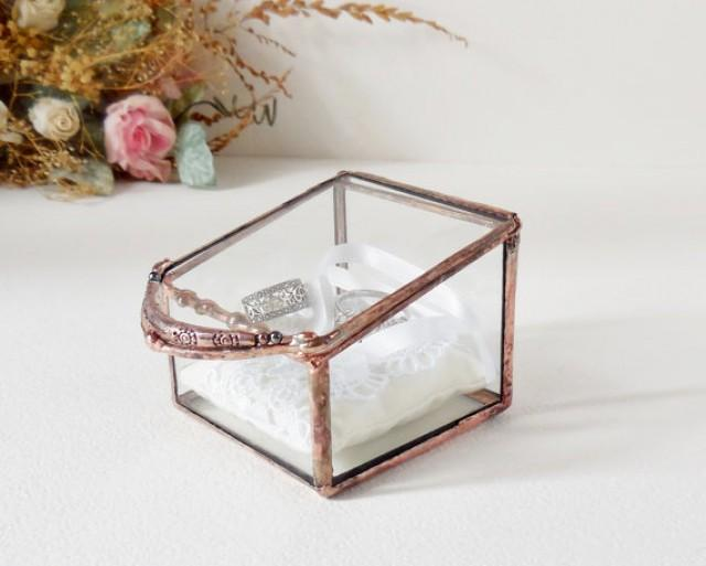 Wedding Ring Box Clear Glass Ring Bearer Engagement Ring Box Glass Box With A Hinged Lid