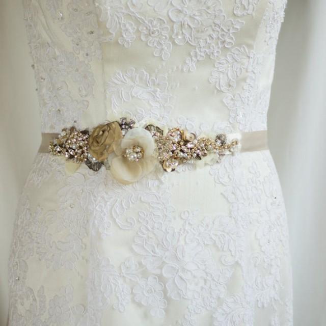 Bridal belt bridal sash rustic belt sash gold belt floral for Vintage wedding dress belts