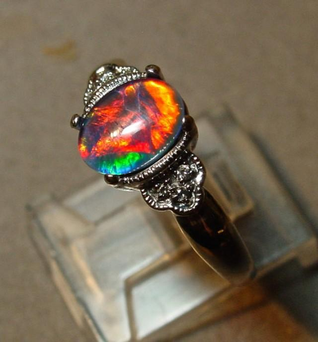 14K Solid Gold Opal & Diamond Ring Antique Engagement Opal Ring Genuine