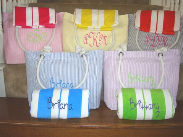 Beach Wedding Bridesmaid Gifts: Bridesmaid Gift Set, Navy Beach Bag And Beach Towel