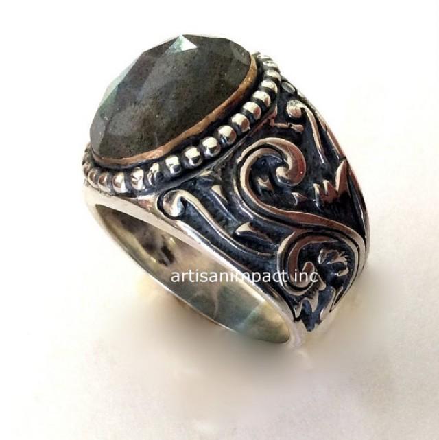 Labradorite Ring, Silver Engagement Ring, Silver Gold Ring ...