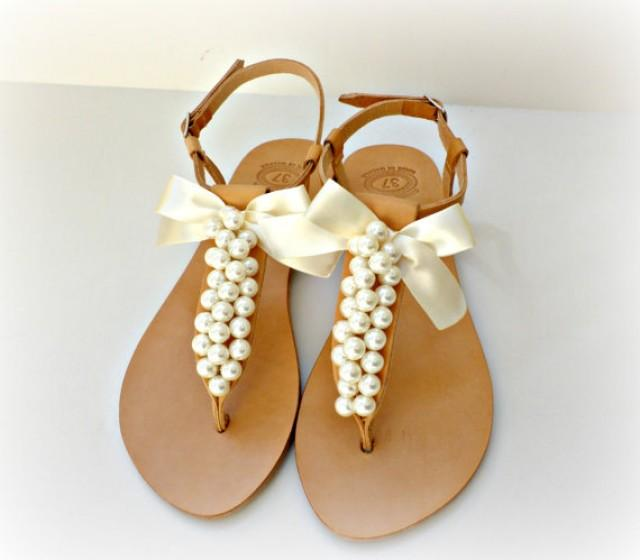 Wedding Sandals Greek Leather Sandals Decorated With White Pearls And Satin Bow Bridal Party