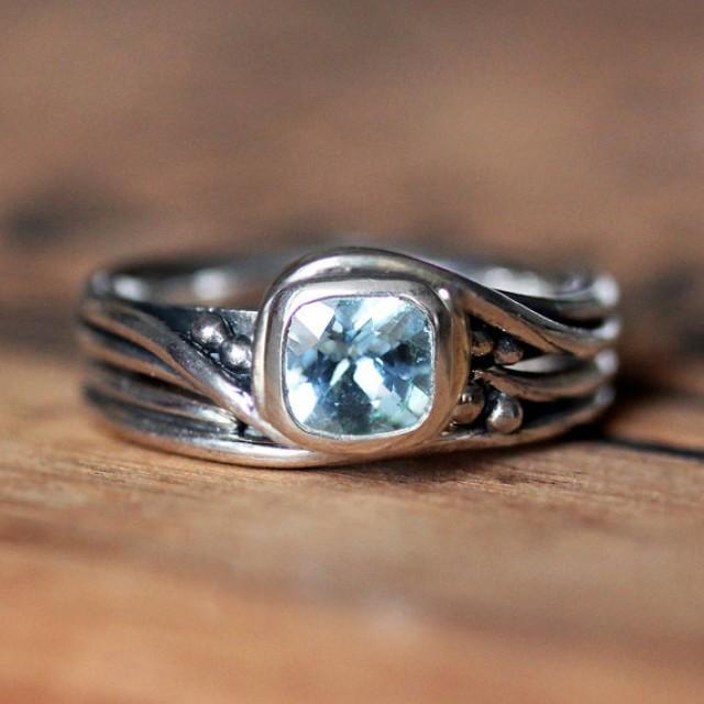 Rustic Engagement Ring Set - Aquamarine Gemstone Ring - Recycled Sterling Silver - Handmade ...