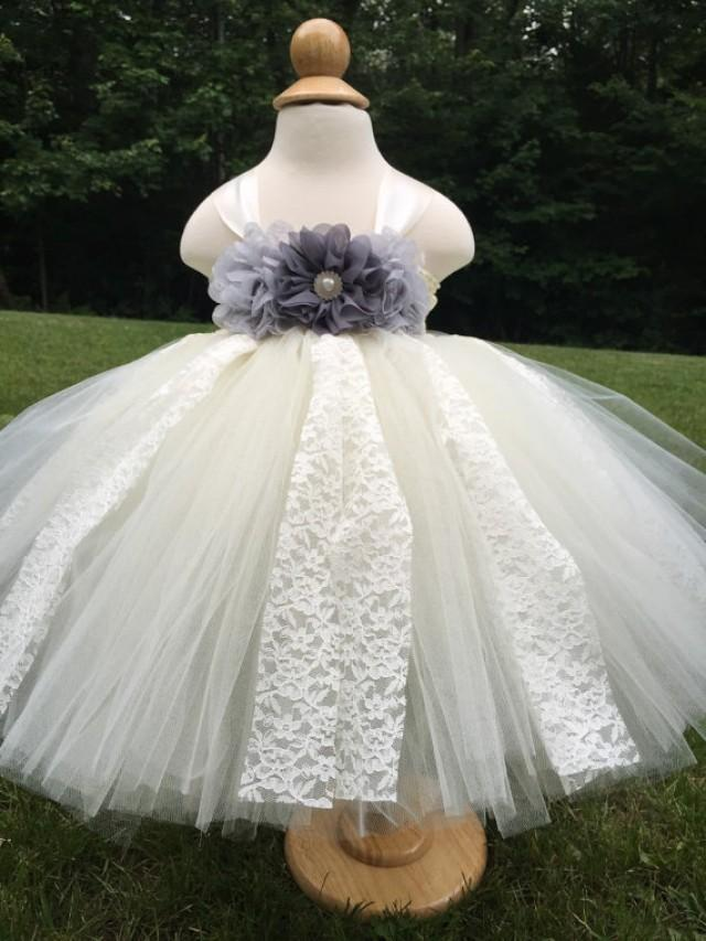 Charcoal And Grey Girls Wedfing Dress Ivory Girls Flower