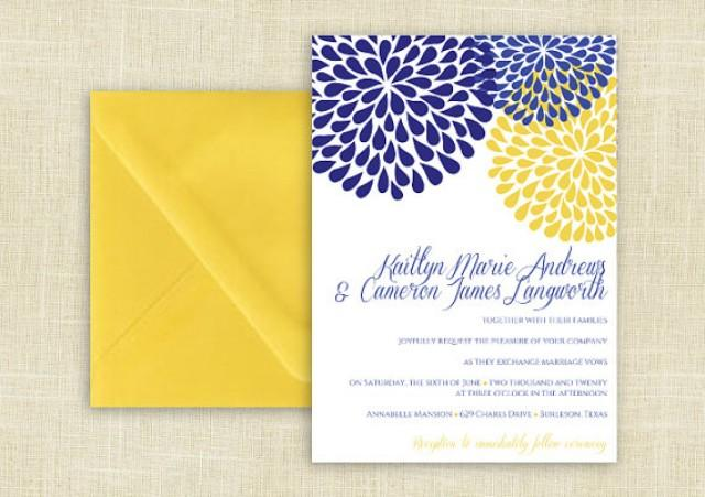 Blue And Yellow Wedding Invitations: DiY Wedding Invitation Template