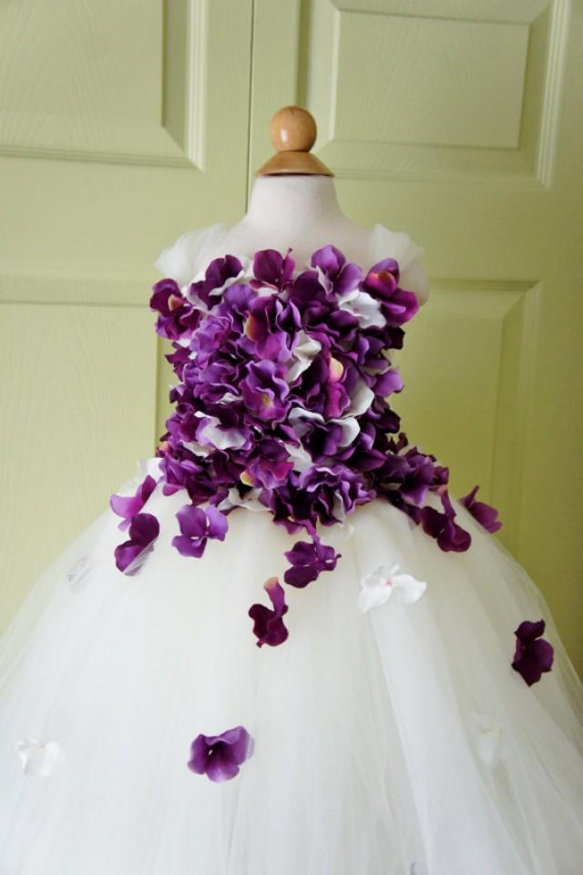 Flower girl dress tutu dress photo prop in ivory and for Purple and ivory wedding dress