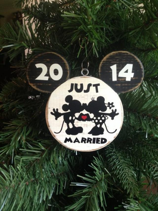 Mr And Mrs Mickey Minnie Bride Groom Disney Wedding Christmas Wood Ornament