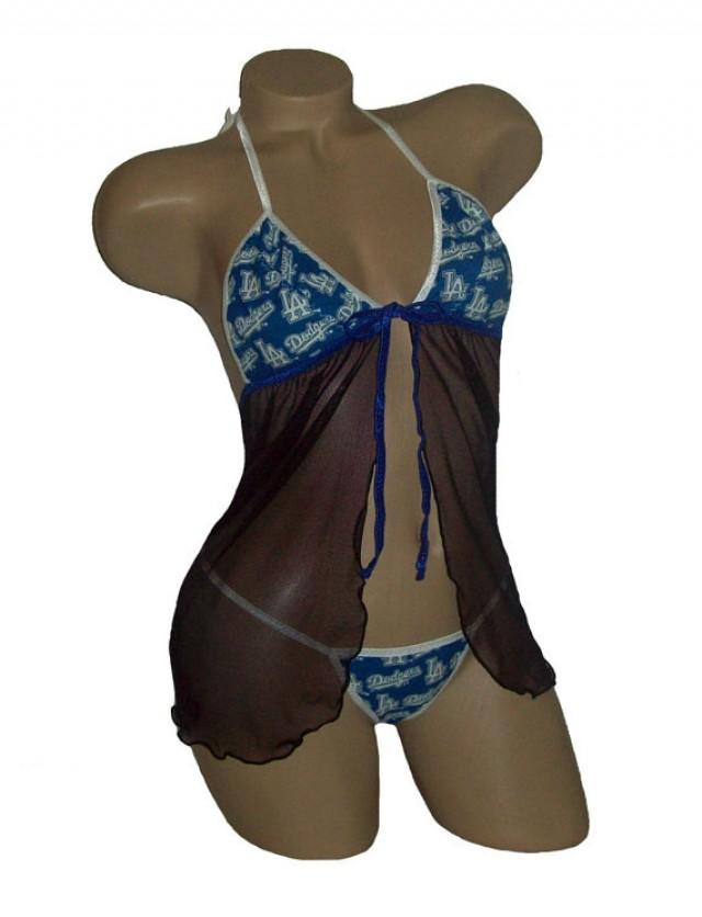 3986c93ddcb Los Angeles LA Dodgers MLB Lingerie Negligee Babydoll Sexy Teddy Set with  Matching G-String Thong Panty