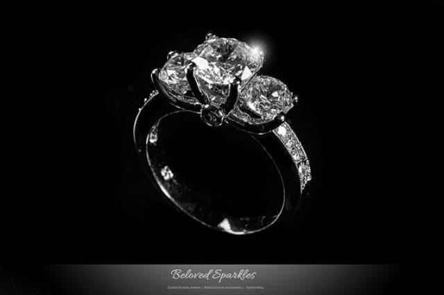1 Carat Round Cut 3 Stone CZ Engagement Ring Classic 3 Carat Tri Stone Cubi