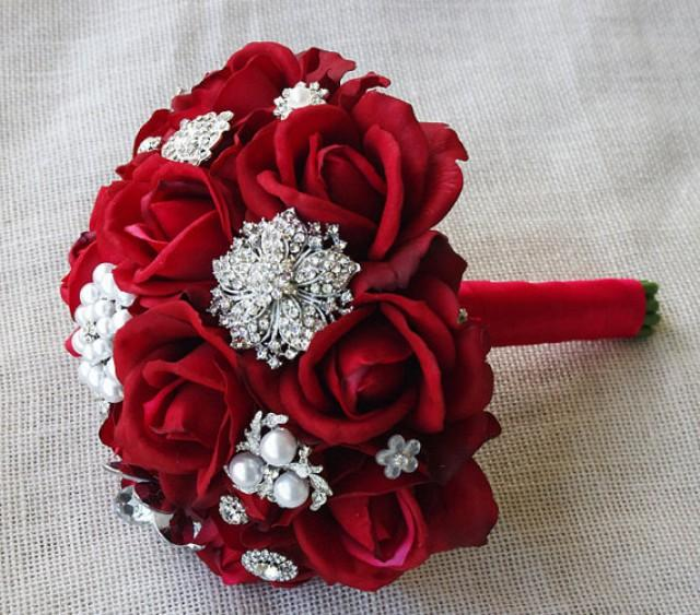 Silk red brooch wedding bouquet natural touch roses and for Red wedding flower ideas