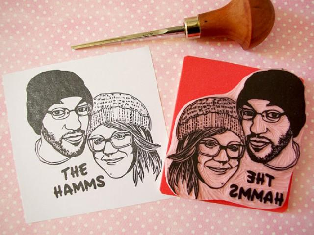 Handmade Wedding Gifts For Couple : Custom Couple Portrait Rubber Stamp Hand Carved Wedding Gift For ...