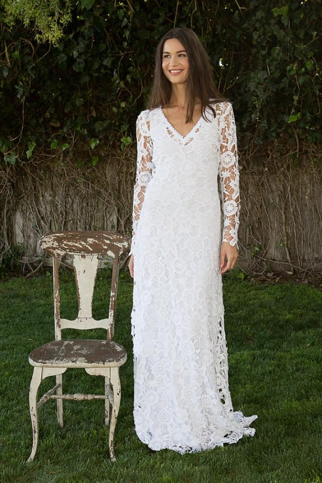 Bohemian wedding dress crochet lace long sleeve boho for Bohemian white wedding dress