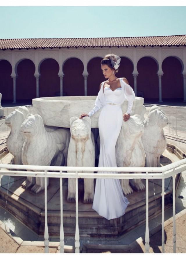 wedding photo - Sweetheart Stain with Long Sleeves Jacket Mermaid Style Wedding Dresses