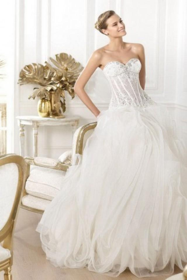 wedding photo - Chic And Sweet Applique White Lace-up Organza Bridal Wedding Dress