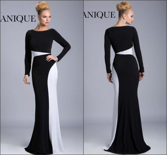 Black And White Long Sleeve Prom Dresses 94