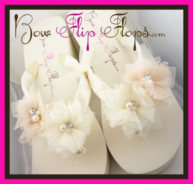 231deeaaf1ad90 Ivory Wedge Flip Flops Ivory Flip Flops Bridal Flip Flops Wedding Flip  Flops White Bow Platform Rhinestone Satin Bride heel bridesmaids gift