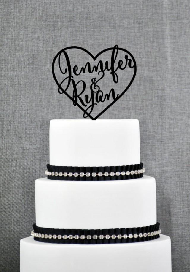Heart Toppers With Names Inside A Heart For Wedding Cakes
