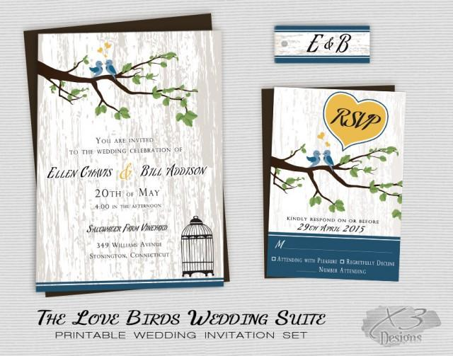Love Birds Wedding Invitations: Rustic Country Wedding Invitation, Printable Love Birds