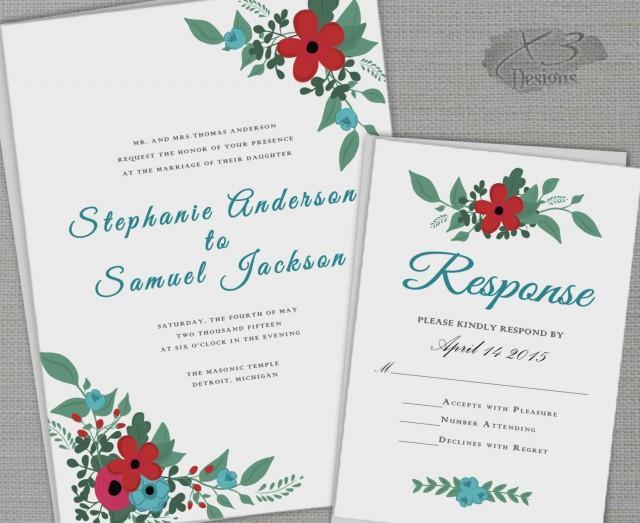 Rustic Backyard Wedding Invitations :  rusticweddinginvitewredblueflowersdiybackyardgardenwedding