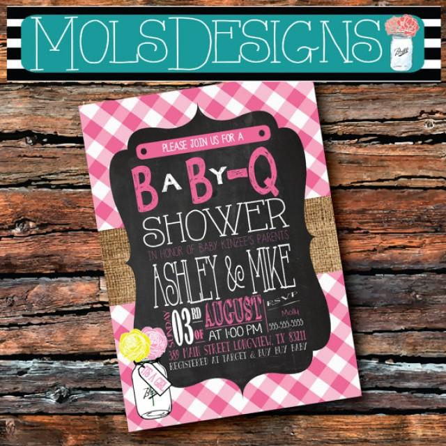 any color chalkboard burlap baby q couples pink gingham country, Baby shower invitations